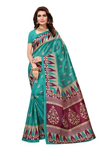 Turquoise Sari Blue (CRAFTSTRIBE Bollywood Indian Bhagalpuri Silk Saree Party Wear Ethnic Wedding Turquoise Sari)