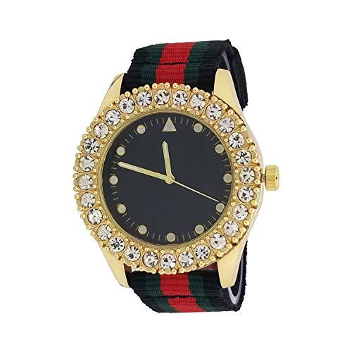 Techno Pave 14K Gold Plated Iced Out 1 Row Big Stone Bezel Black Dial Luxury Designer Style Nylon Band Wrist - Diamond Watch Row