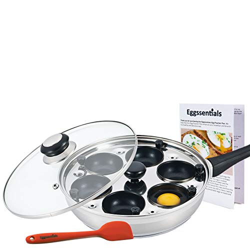 Eggssentials Poached Egg Maker - Nonstick 6 Egg Poaching Cups - Stainless Steel Egg Poacher Pan FDA Certified Food Grade Safe PFOA Free With Bonus Spatula by PremiumWares (Image #3)