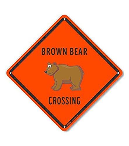 10 x 10 PetKa Signs and Graphics PKAC-0326-NA/_10x10Brown Bear Crossing Aluminum Sign