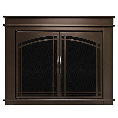 Pleasant Hearth FN-5702 Fenwick Fireplace Glass Door, Oil Rubbed Bronze, Large (Cover Glass Fireplace Mesh)