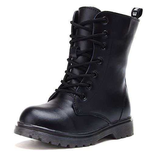 UBELLA Kids Boys Girls Black Leather High Top Zipper Lace-Up Martin Boots Combat Riding Boots -