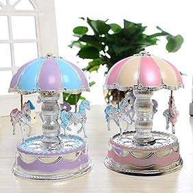 Walkretynbe LED Glowing Carousel Music Box,Kids Toy Merry-Go-Round Birthday Valentines Gift Home Desk Decor Pink