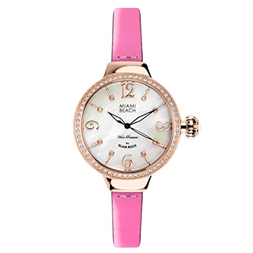 Glam Rock Miami Beach Art Deco collection MBD27198A 36mm Stainless Steel Case Pink Calfskin Mineral Women's Watch