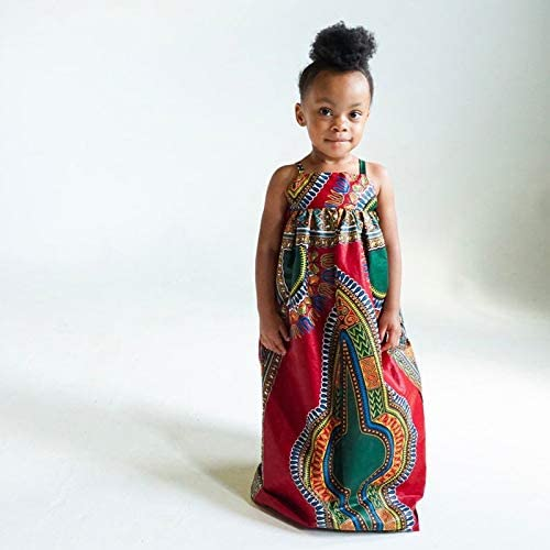 GRNSHTS African Dress for Toddler Girls Kids Baby Bohemian Strap Long Skirt One-Piece Summer Outfits with Headband