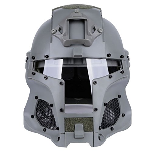 Goshfun Tactical Military Helmet Protective Fast Helmet Full Face Mesh Mask with Goggle for Airsoft Paintball CS Outdoor Activity, Grey ()