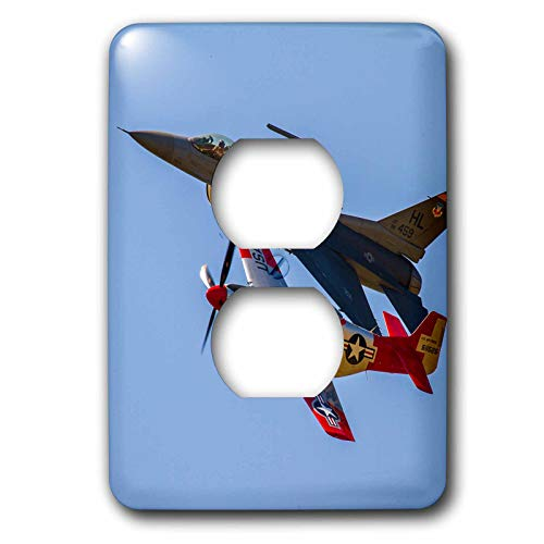 3dRose Elysium Photography - Aircraft - Fighter aircraft, old and new - Light Switch Covers - 2 plug outlet cover (lsp_289609_6) by 3dRose