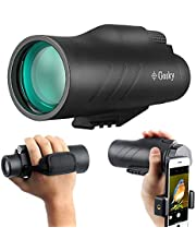 10x50 HD Monocular with Scope Mounting Base Rifle Rail- Gosky New Waterproof Distantance Measuring Monocular with Crosshair and Smartphone Holder for Hunting Survival Wildlife Bird Watching Secenery