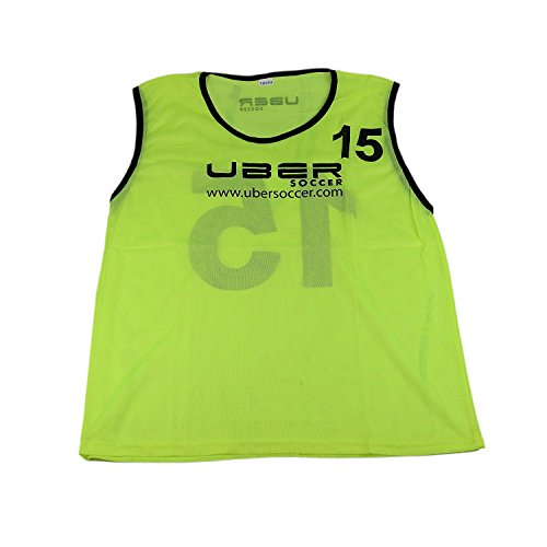 Uber Soccer Numbered Scrimmage Training Bibs - Set of 15 - Neon Yellow - Youth ()