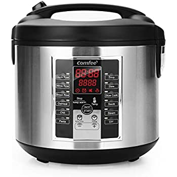 COMFEE'  Rice Cooker, Slow Cooker, Steamer, Stewpot, Sauté All in One ( 12 Digital Cooking Programs) Multi Cooker with 20 cups cooked rice (5.2Qt ) Large Capacity. 24 Hours Preset & Instant Keep Warm