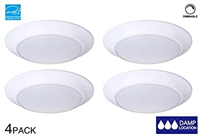 LIT-PaTH 7.5 Inch Mini LED Flush Mount Ceiling Light Fixture, 11.5W (75W Equivalent), Dimmable, 800 Lumen, ETL and ES Qualified (4-Pack)