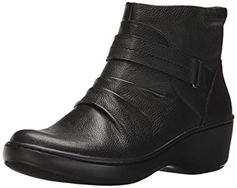 Clarks Women's Delana Fairlee Ankle Bootie, Black Leather, 7.5 M US - Leather Scrunch Boot