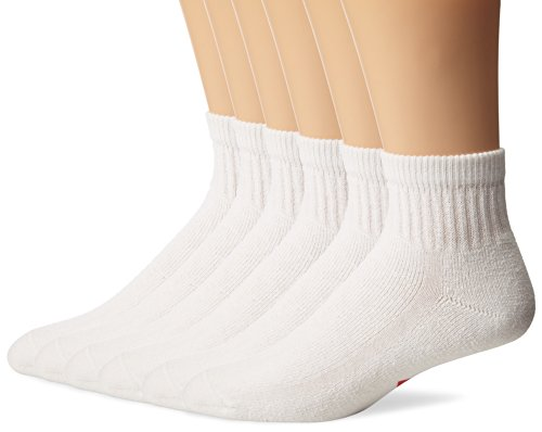 (Wigwam Men's Super 60 Quarter 6 Pack Socks, White, Medium)