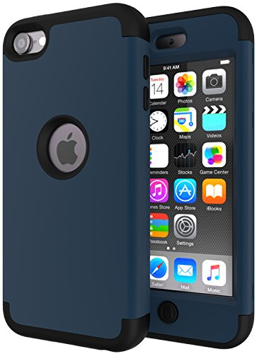 iPod Touch 6 Case, iPod Touch 5 Case, SLMY(TM) High Impact Heavy Duty Shockproof Full-Body Protective Case with Dual Layer Hard PC+ Soft Silicone for Apple iPod Touch 6th/5th Generation Teal/Black