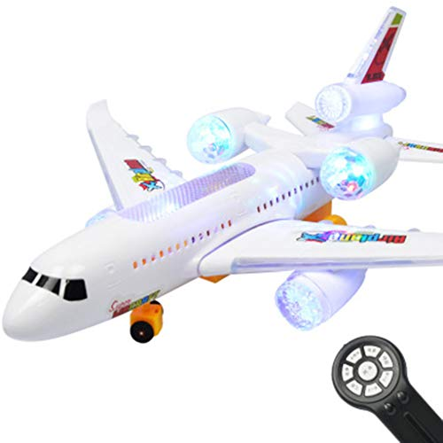 Remote Control Airplane Electric Light Music Plane Outdoor Toy Gift USB Charge Black