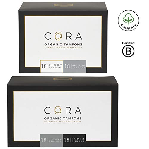 Cora Organic Cotton Tampons with Compact Applicator; Variety Pack - Light/Regular/Super (72 Count)