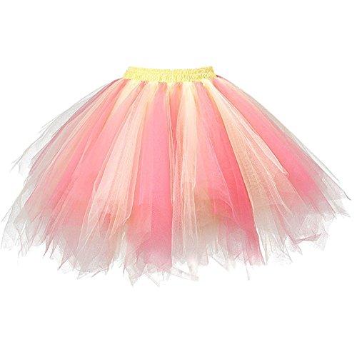 Girstunm Women's 1950s Vintage Petticoats Bubble Tutu Dance Half Slip Skirt Coral Yellow L/XL -