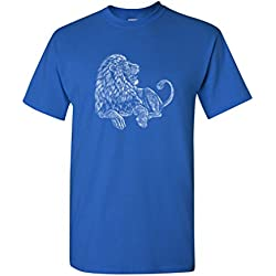 Majestic Lion King Animal Tanya Ramsey Artworks Art DT Adult T-Shirt Tee (XXXXX Large, Royal Blue)