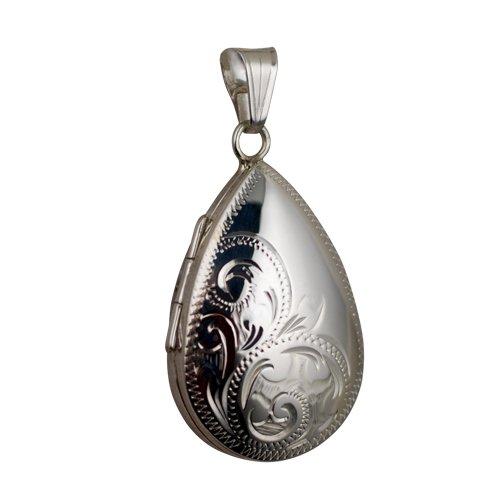 Médaillon à loquet en forme de larme de 30x20mm en argent à moitié gravé