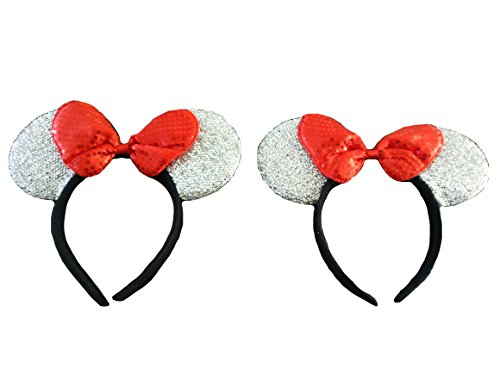 Mickey / Minnie Mouse ears headband for boys girls, parties, Disneyland, + more (Sparkling Silver with Red (Disney Minnie Ears Headband)