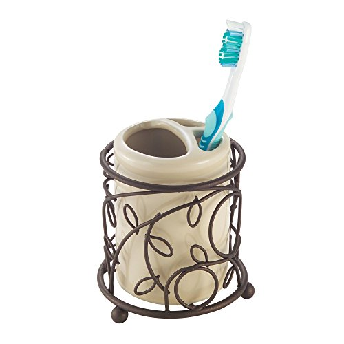 InterDesign Twigz Toothbrush Holder Stand for Bathroom Vanity or Countertop – Pack of 2, Vanilla/Bronze - Interdesign Holder