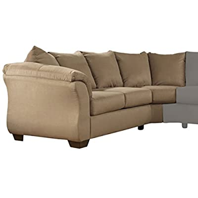 Ashley Furniture Signature Design - Darcy Contemporary Left Arm Facing Loveseat - Sectional Component Only - Mocha