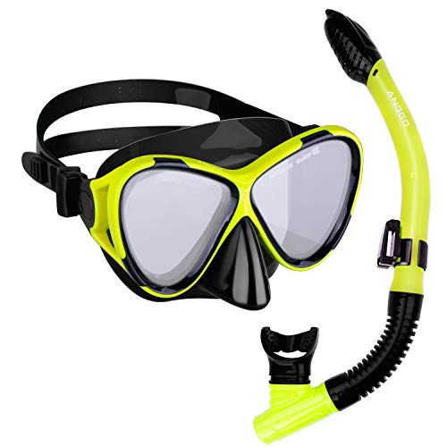 ANGGO Snorkel Set Anti-Fog Film Dive Mask Snorkel Combo Tempered Glass Goggle and Dry Top Snorkel for Swimming and ()