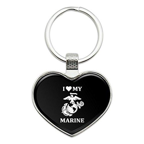I Love My Marine USMC White on Black Officially Licensed Heart Love Metal Keychain Key Chain Ring