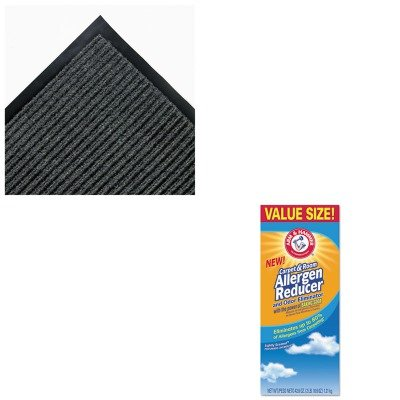 (KITCHU3320084113CWNNR0035GY - Value Kit - 3' x 5' Needle Rib Mat, Charcoal (CWNNR0035GY) and Arm And Hammer Carpet amp;amp; Room Allergen Reducer amp;amp; Odor Eliminator)