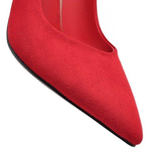 BalaMasa da donna metallo Bowknot pointed-toe satinato pumps-shoes, Rosso (Red), 35