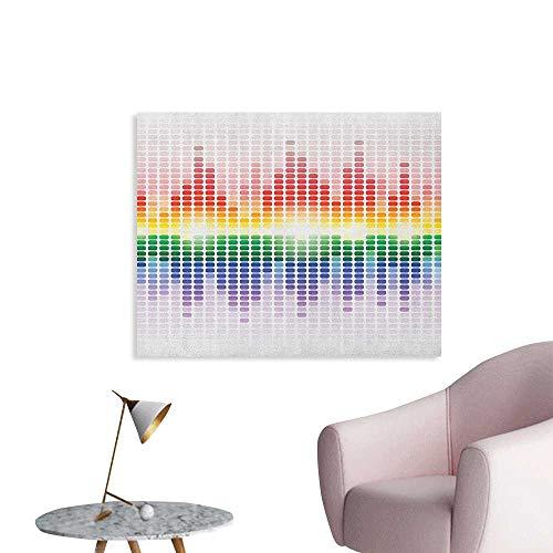 Anzhutwelve Music Wallpaper Rainbow Digital Style Equalizer Amplifier Recording Equipment Night Club Disco Theme Art Poster Multicolor W36 xL32]()