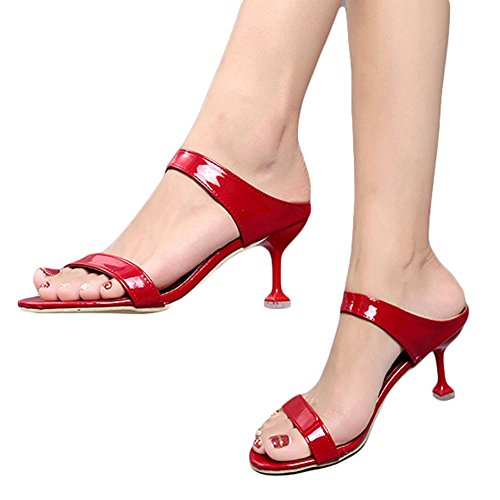 CYBLING Womens Mid Heel Sandals Fashion Open-Toe Party Dress Sandal Slippers For Outdoor Red u8tQmD2nd