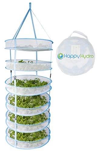 Happy Hydro Hanging Plant and Bud Drying Rack, 6 Tier Collapsible Hydroponic Dry Net with Carry Bag 24 inch x 64 inch.
