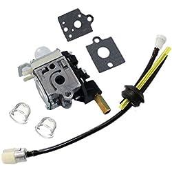AISEN Pack of Carburetor with Gasket Fuel Line Kit Primer Bulb for Zama RB-K75 RBK75 Echo GT200R GT200i HC150 SRM210 A021000740