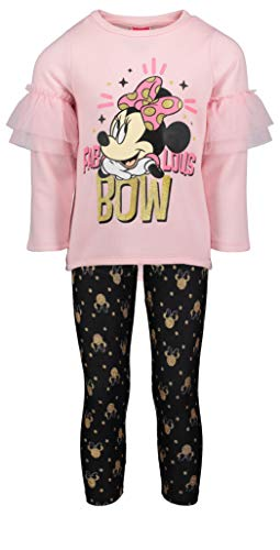 (872333MIS) Minnie Mouse Girls Yummy Graphic Print Fleece Ruffle Trim 2 Piece Legging Set in Pink, 6