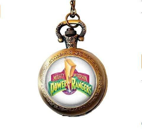 Watch Logo Round (Mighty Morphin Power Rangers Logo Pocket Watch Necklace)