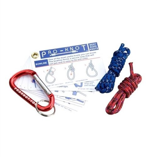 Pro-Knot Knot Tying Kit - 20 Essential Knots Cards One Mini Carabiner and Two Mini Cords - JE-PKKIT101