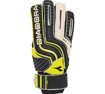 Diadora Boy 's Stile Jrゴールキーパーグローブ 9 Black / White / Yellow B007MCI7H2