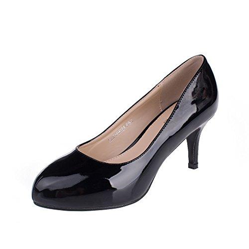 SheSole Women's Sexy Mid Heels Dress Pump, Patent Black 4 F(M) UK/7 B(M) US