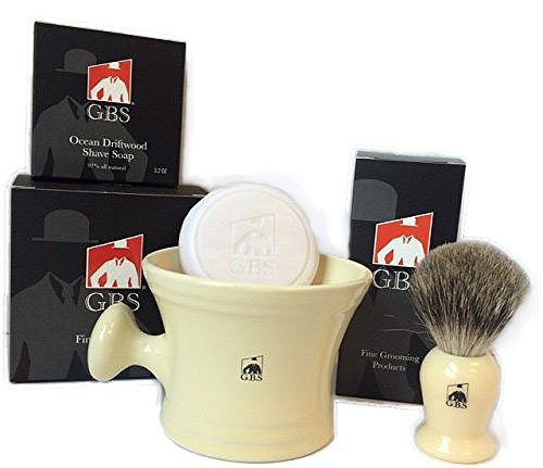 GBS 3 Piece set -Comes in Gift Box- Pure Badger Shaving Brush, GBS Bowl and Soap! 97% All Natural Gbs Ocean Driftwood Shave Soap (Ivory) (Ivory Pure Shaving Brush)