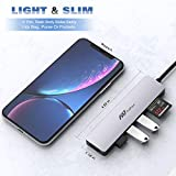 USB C Hub Multiport Adapter - 7 in 1 Portable Space Aluminum Dongle with 4K HDMI Output, 3 USB 3.0 Ports, SD/Micro SD Card Reader Compatible for MacBook Pro, XPS More Type C Devices