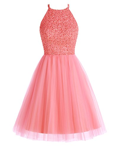 Beading Dress Keyhole Bridesmay Tulle Prom Bridesmaid Coral Dress Short Homecoming wEXqRxSWqI