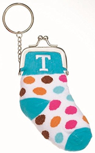 Small Knit Sock Coin Purse with Snap Closure For Kids, Adorable Present, Party Gift, Monogram Initial, Blue-