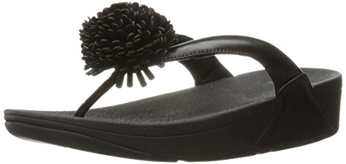 Fitflop Flowerball Leather Toe-Post, Sandalias de Punta Descubierta Para Mujer Negro (Black)