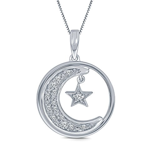 0.09 cttw Round White Diamond 925 Sterling Silver Star Moon Pendant Necklace Diamond Moon Necklace