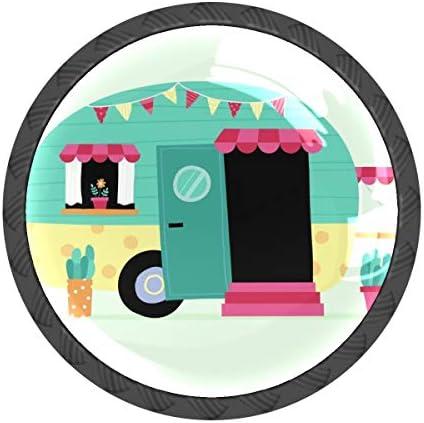 取っ手 引き出しハンドル 車 アニメ 把手 家具ハード 食器棚ワード ワードローブ 耐久性 飾り 4個セット 収納ケース付き