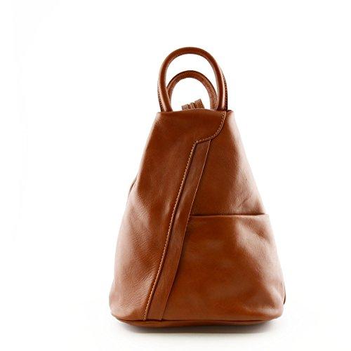 Bolso De Espalda Para Mujer En Piel Verdadera Con Bandoleras Ajustables Color Cognac - Peleteria Echa En Italia - Bolso Espalda