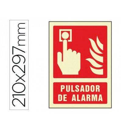 PICTOGRAMA SYSSA SEÑAL DE PULSADOR DE ALARMA EN PVC FOTOLUMINISCENTE 210X297 MM