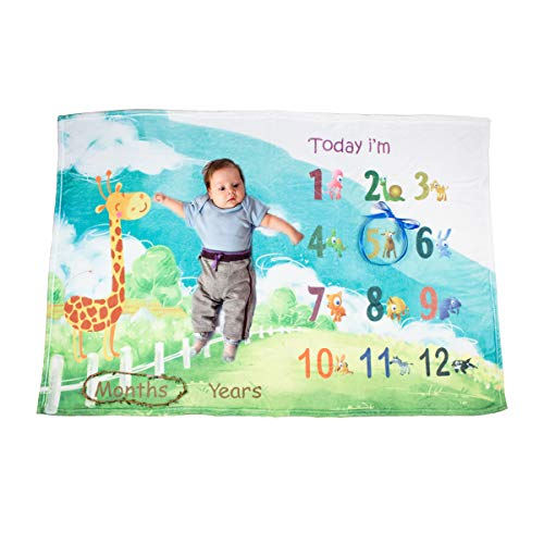 Ghome Baby Monthly Milestone Blanket Boy&Girl Props Shoots Backdrop with Animal World 40''X60'' (Animal) by Ghome
