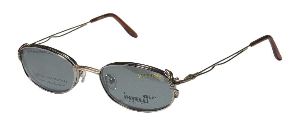 Elite Sleek Eyewear Intelli Clip 720 Womens/Ladies Designer Full-rim Sunglass Lens Clip-Ons Spring Hinges Eyeglasses/Eye Glasses (51-20-135, Pewter/Gold)